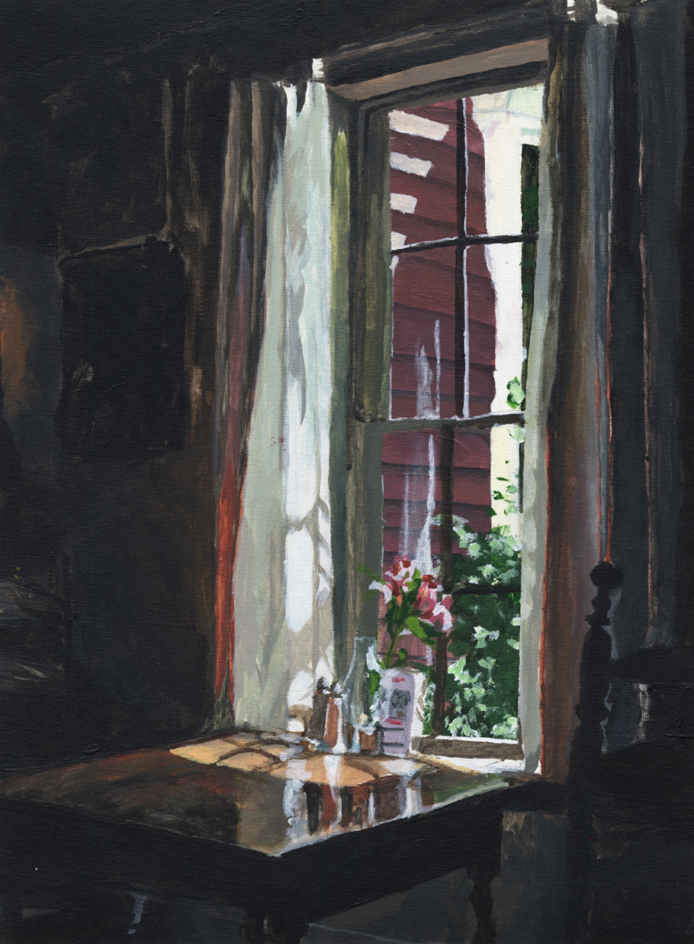 Wayside Inn Window by Alicia Bellido; The Rivers School; Acrylic; 12×16