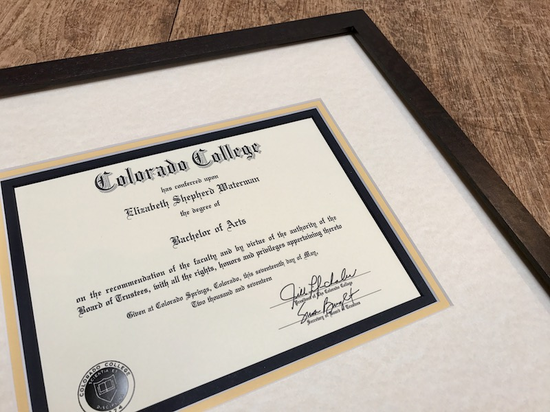 diploma framing at Page Waterman Fine Framing in Wellesley Square
