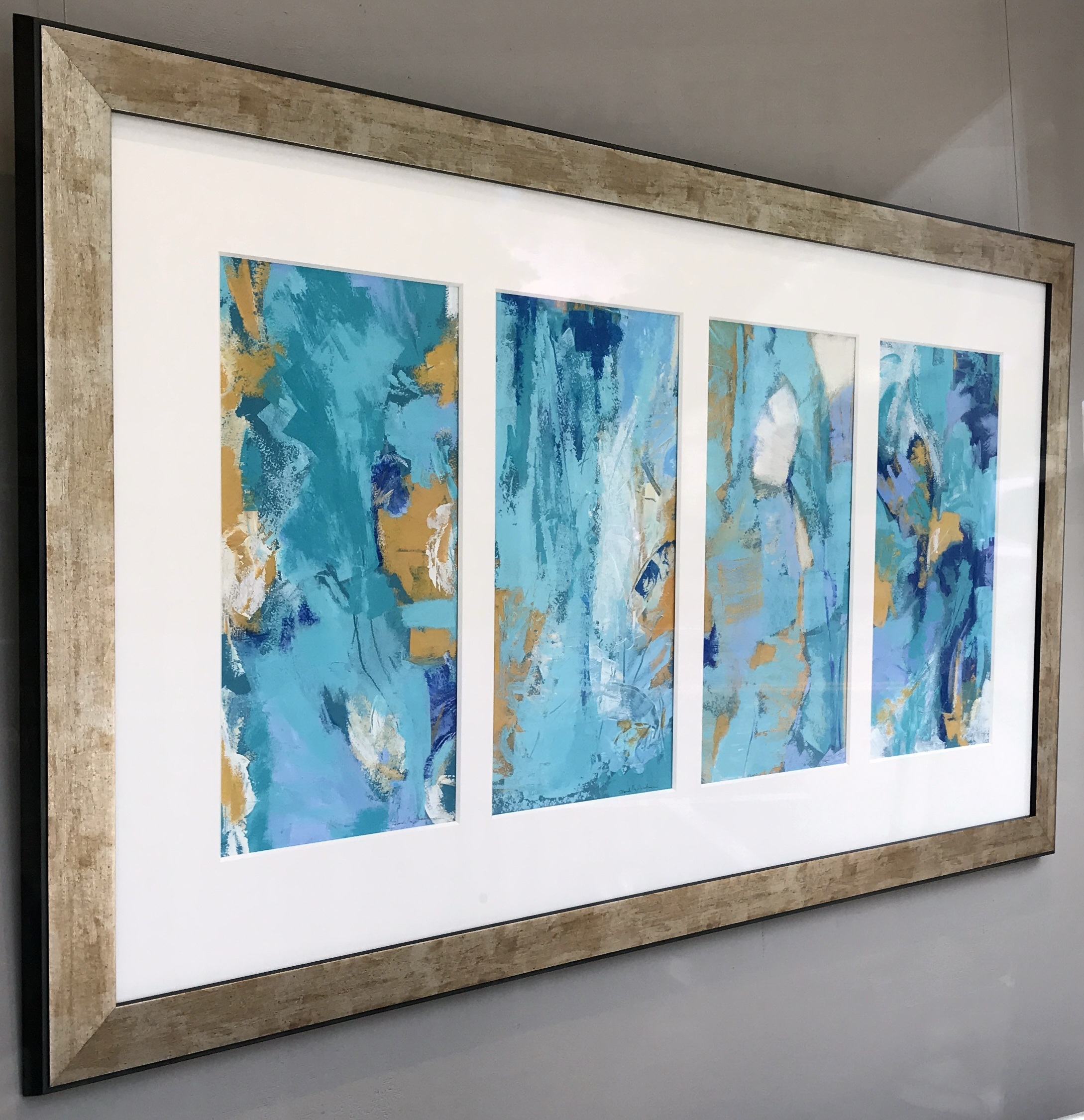 Vertical Blues I, II, III and IV by Deborah Lloyd Kaufman, Acrylic, 33 x 57, $4000