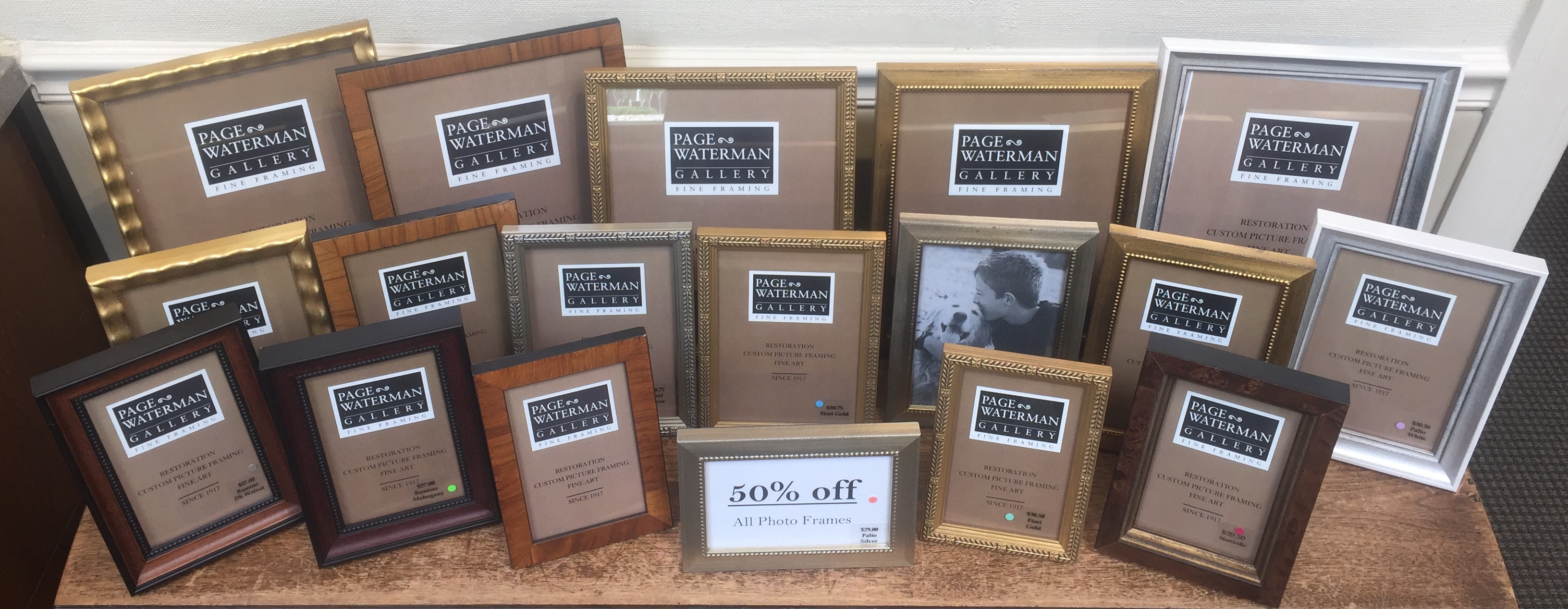 Photo frames at Page Waterman Fine Framing art 50% off