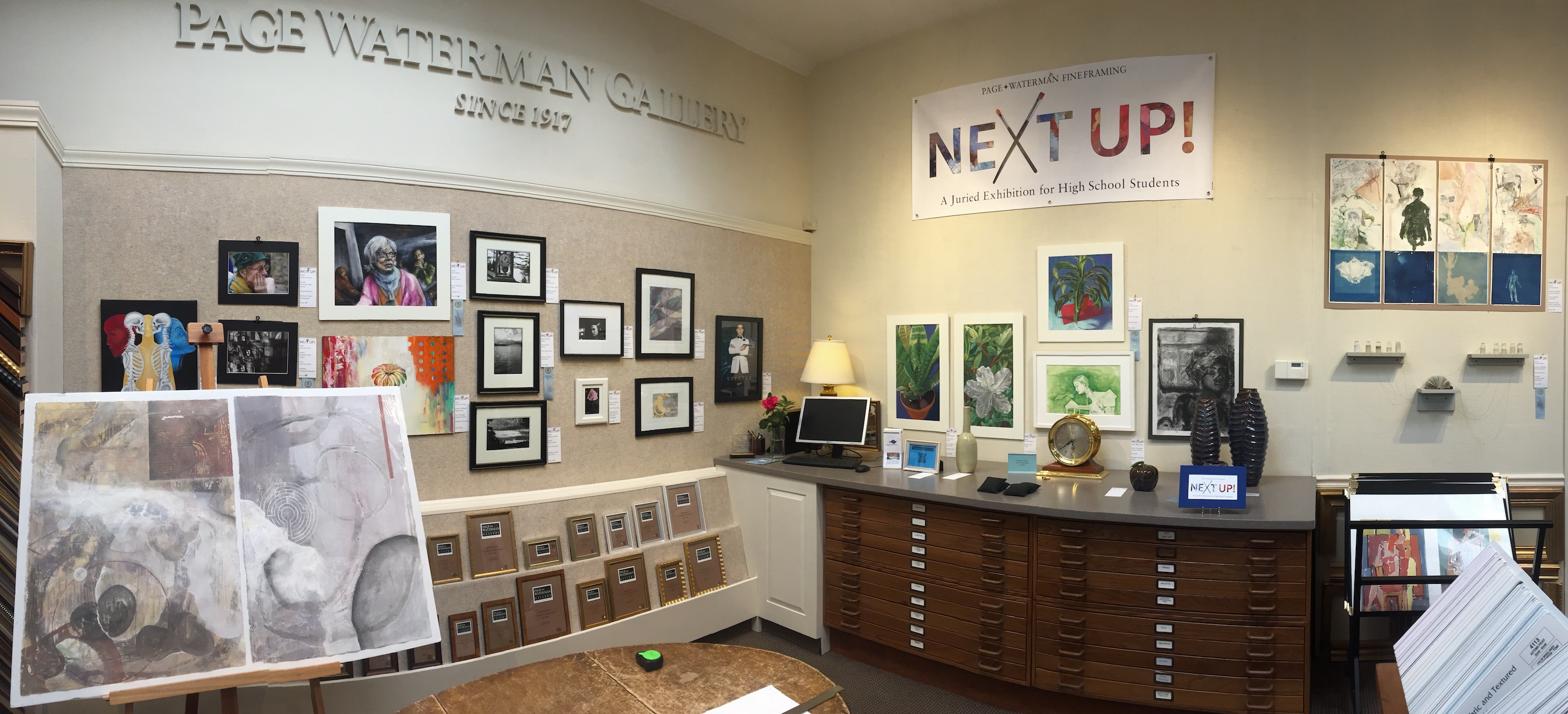 The Next Up! 2017 Reception is ready in the Gallery at Page Waterman Fine Framing, Wellesley