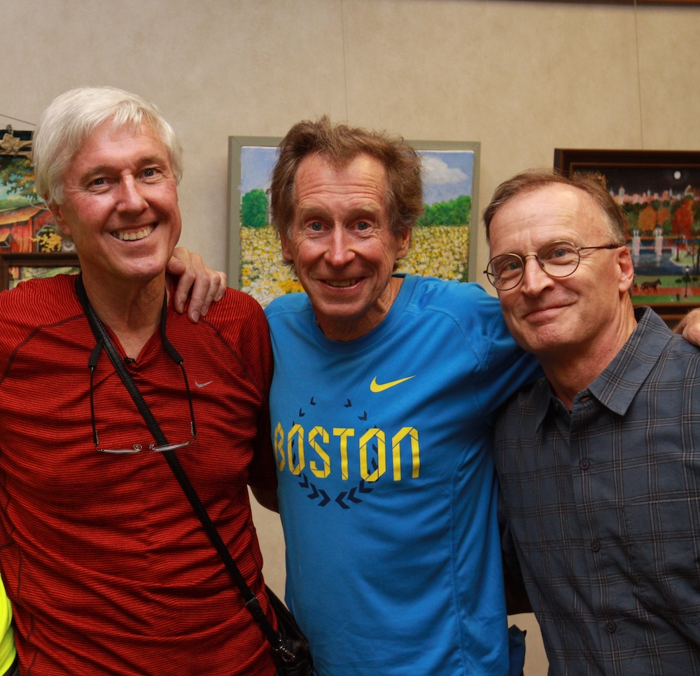 (l to r) Jeff Johnson, Nike's first full-time wage earner; Bill Rodgers local running legend and four-time Boston Marathon winner; and Sturdy Waterman, owner of Page Waterman.